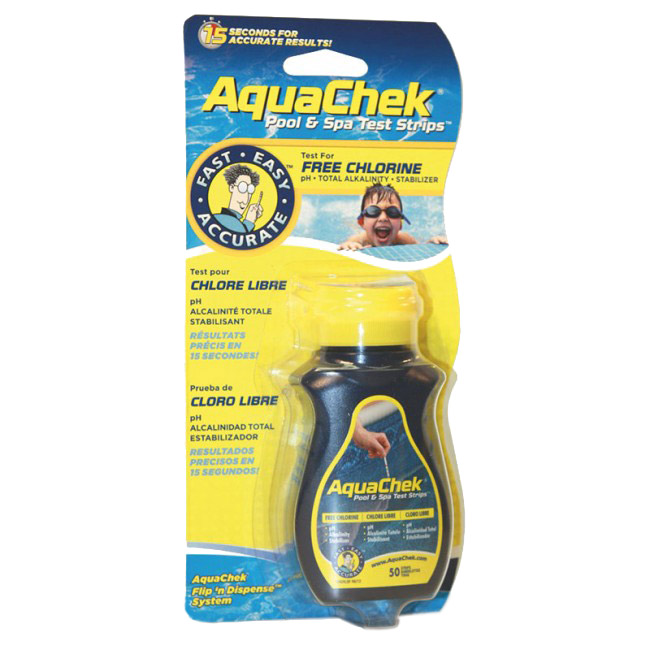 AquaChek® Jaune Cl Libre, pH, TAC, Stab.(50 strips)