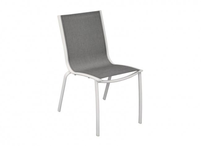 LINEA chaise empilable aluminium / TEXTILENE - Blanc Sand / Argent